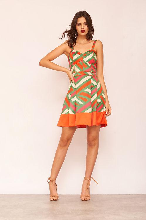 Vestido curto estampa geométrica com barrado liso