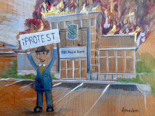 """""""I protest!"""" Arbie shouted out and smiled as he hoisted his sign above his head in the near empty big box store parking lot."""