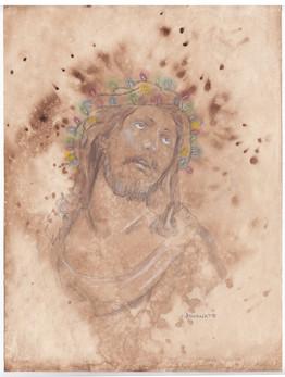 Jesus with Crown of Christmas Lights