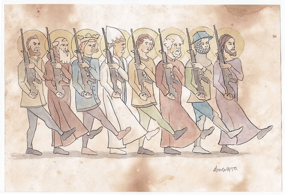 The Saints Go Marching watercolour sketch