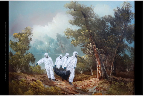 Print #7: A hazmat crew removes a body, downstream from the accident