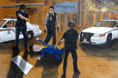 Despite being unarmed, and presenting no threat to any people, several police officers surrounded Arbie and taser him repeatedly.