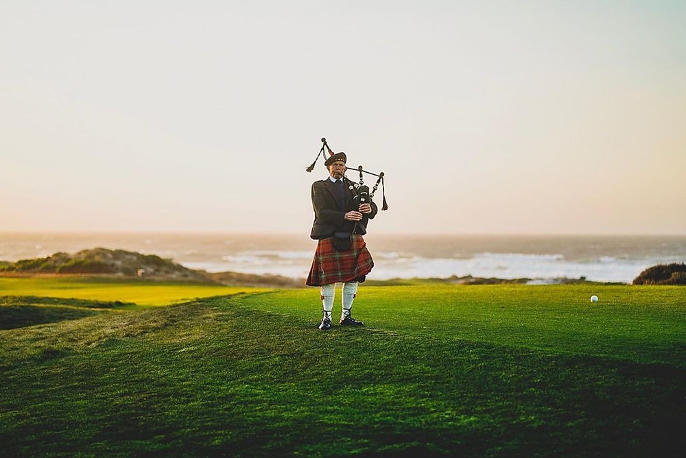 Spanish Bay bag piper, close to #JewelboxCottages