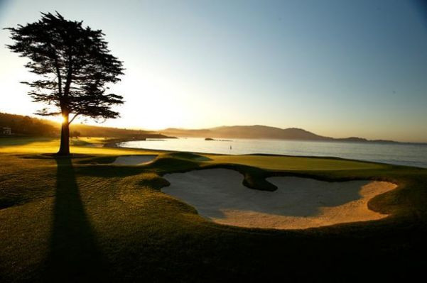 Alex looking back down 18 at Pebble Beach