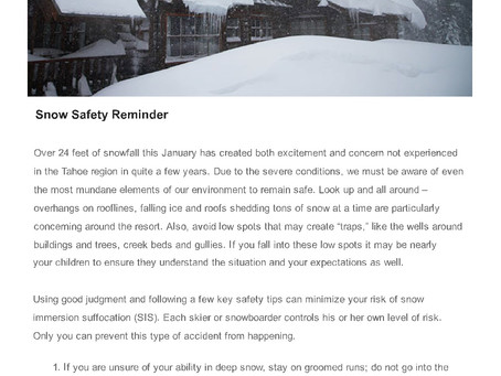 Safety Tips for Being Out in the Snow, From SugarBowl Resort
