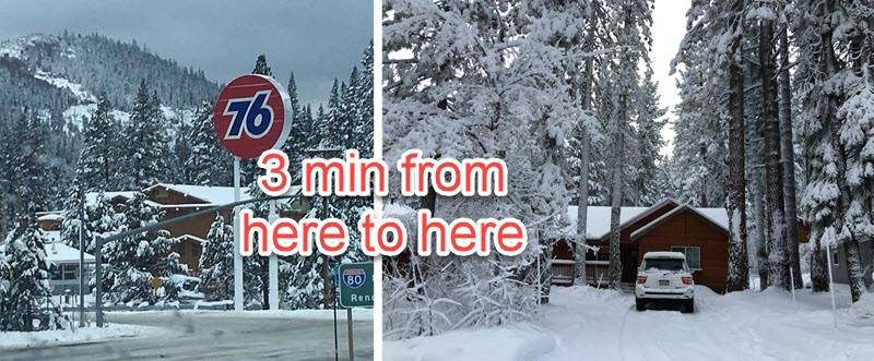 Donner Bliss is 3 min off the I-80 hwy in Truckee