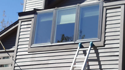 Old aluminum winows replace with bronze colored vinyl window