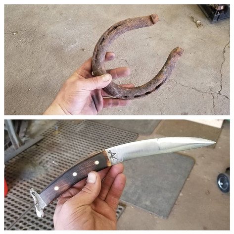Horseshoe conversion blade. Burned maplewood handle. Brass pins.