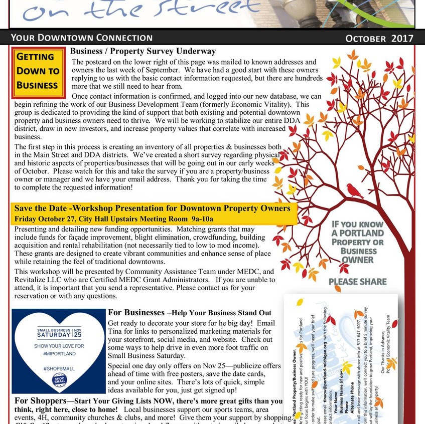 Mainstreet Newsletter October 2017 page 1 of 2