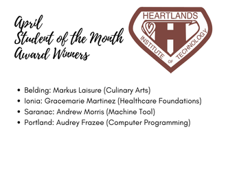 Heartlands Institute of Technology Announces Student of Month Winners for April