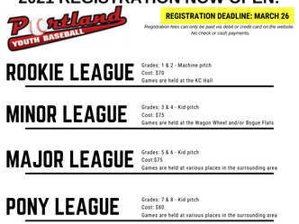 Portland Youth Baseball Registration for 2021 is Now Open