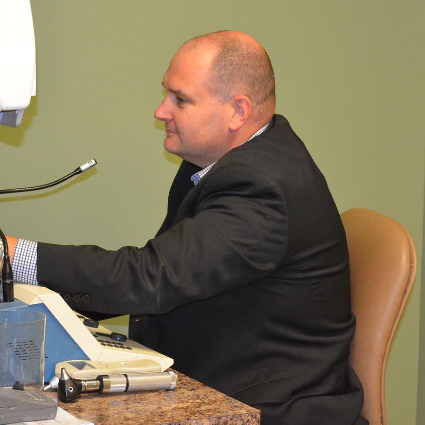 Doug Logel uses an Audiometer.