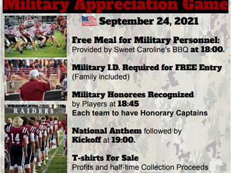 PHS Football to Hold Military Appreciation Game September 24th