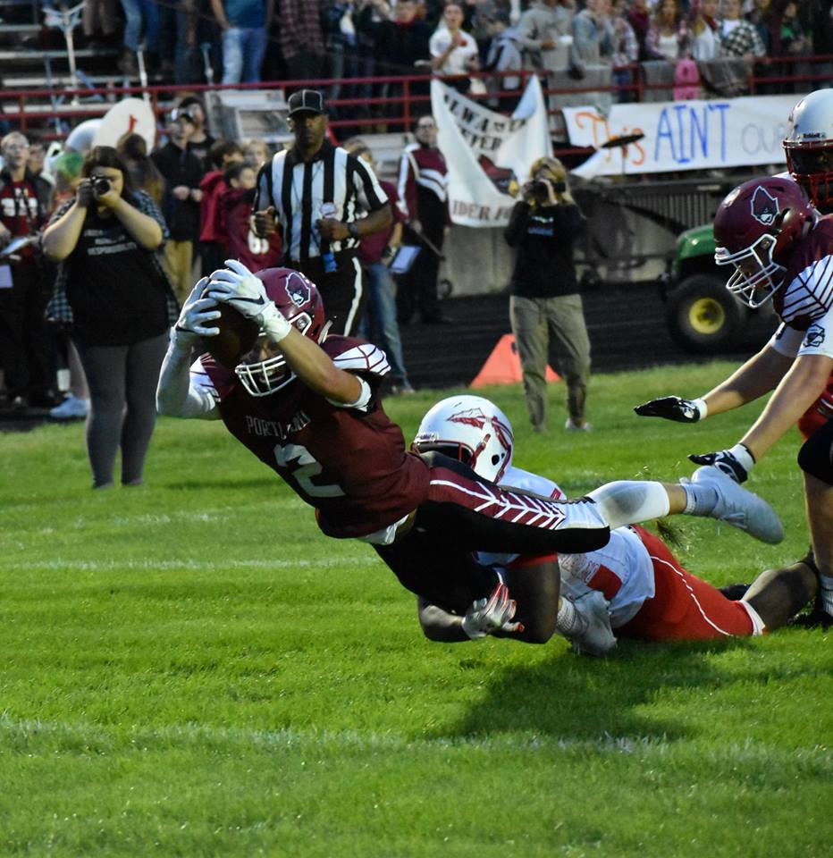 Senior Jake Veale crossing the goal line.  Photo by Brian Foreback.