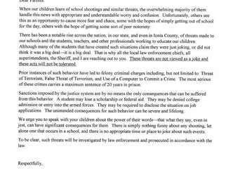 County Law Enforcement and School Officials Issue Letter in School Threats