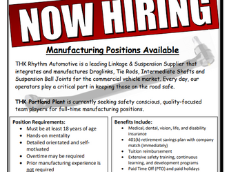 THK Now Hiring for Portland Plant