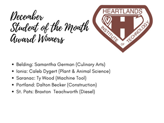 Heartlands announces December Student of the Month award winners