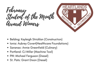 Heartlands Institute of Technology Announces February Student of the Month Winners