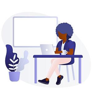 Black Man : Black Woman Using Laptop E.j