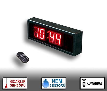NEM Sıcaklık Saat (İç/Dış Mekan Saat) 10cm x 31cm (Rakam Yük. 4,5cm) Kumandalı