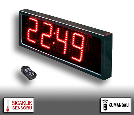 LED Dijital Saat (İç/Dış Mekan Saat) 20cm x 39cm (Rakam Yük. 15cm) Kumandalı