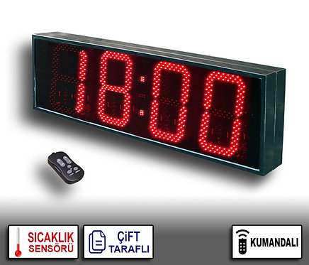 ÇİFT TARAFLI Dijital Saat (İç/Dış Mekan Saat) 39cm x 114cm (Rakam Yük. 30cm)