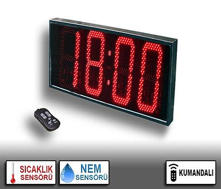 NEM Sıcaklık Saat (İç/Dış Mekan Saat) 36cm x 71cm (Rakam Yük. 32cm) Kumandalı