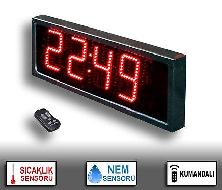 NEM Sıcaklık Saat (İç/Dış Mekan Saat) 20cm x 39cm (Rakam Yük. 15cm) Kumandalı