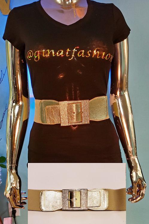 Black/Gold Stretch Looped Belt