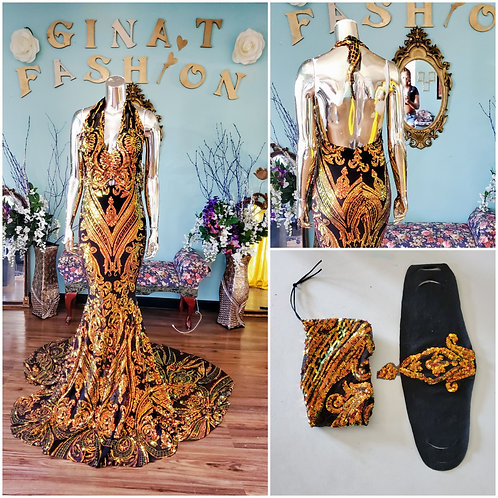 Full Sequin Evening Gown with Matching Mask and Purse