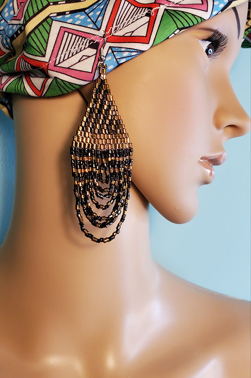 Beaded Teardrop Copper/Gold Earring
