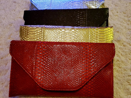 Faux Leather Snakeskin Handbags with Strap