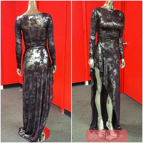 Drape Long sleeve 2 piece evening gown