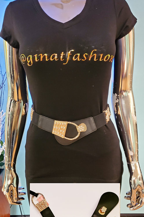 Elastic Stretch Rhinestone Butterfly Belt With Crossover Buckle