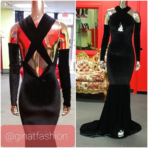 Velvet Front/Back Criss-Cross Evening Gown