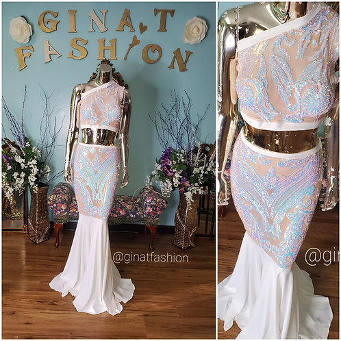 2 Piece Sheer Sequin Mermaid Gown