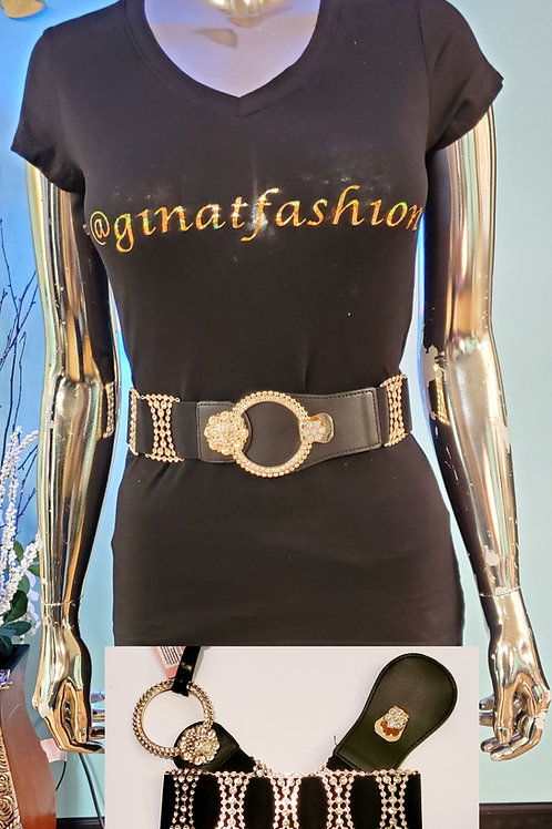 Faux Leather with Elastic Band Gold/Rhinestone Belt Buckle