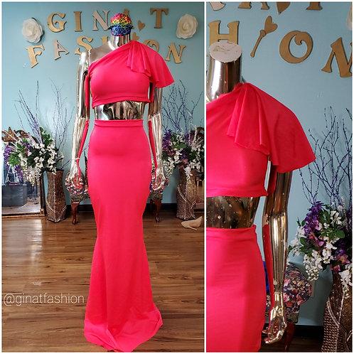 2 piece Stretch 1/2 sleeve Drape Evening Gown