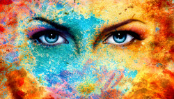 A Pair Of Beautiful Blue Women Eyes Beaming, Color Rust Effect, Painting Collage, Violet Makeup.