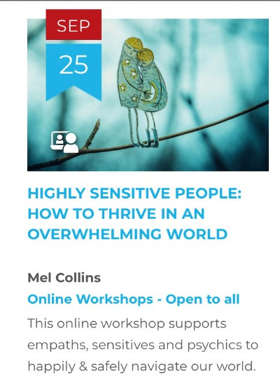 Online Workshop - Highly Sensitive People: How to Thrive in an Overwhelming World.