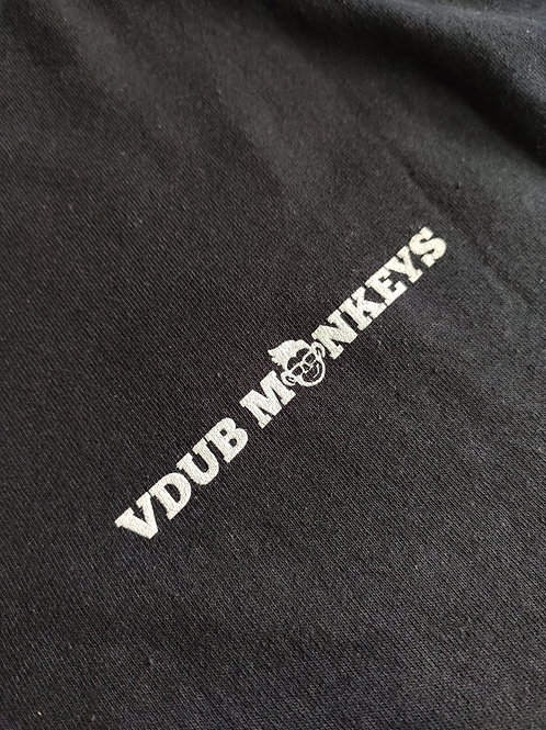 BLACK T-SHIRT WITH VDUB MONKEYS LOGO ON FRONT AND BACK