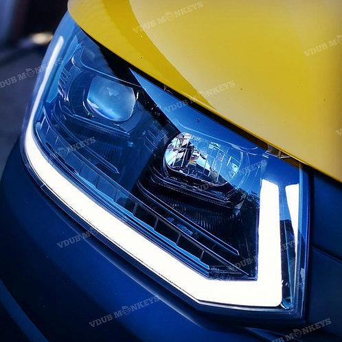 VW T5.1 DRL GLOSS BLACK HEADLIGHTS
