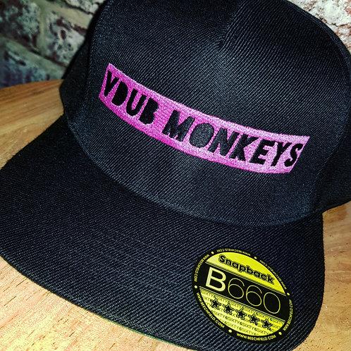 VDUB MONKEYS SNAPBACK FLAT PEAK CAP BLACK/PINK