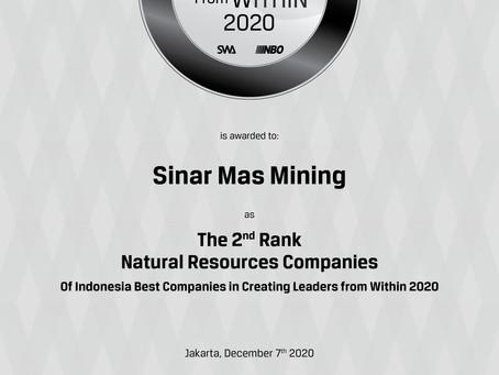 Sinar Mas Mining Raih Penghargaan Indonesia Best Companies in Creating Leaders from Within 2020