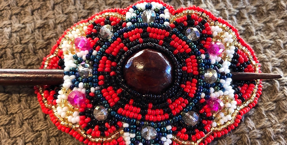 Red Tones Intricate Beaded Hair Barrette