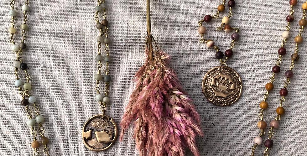 Handmade Sanskrit & Trees jasper pendants
