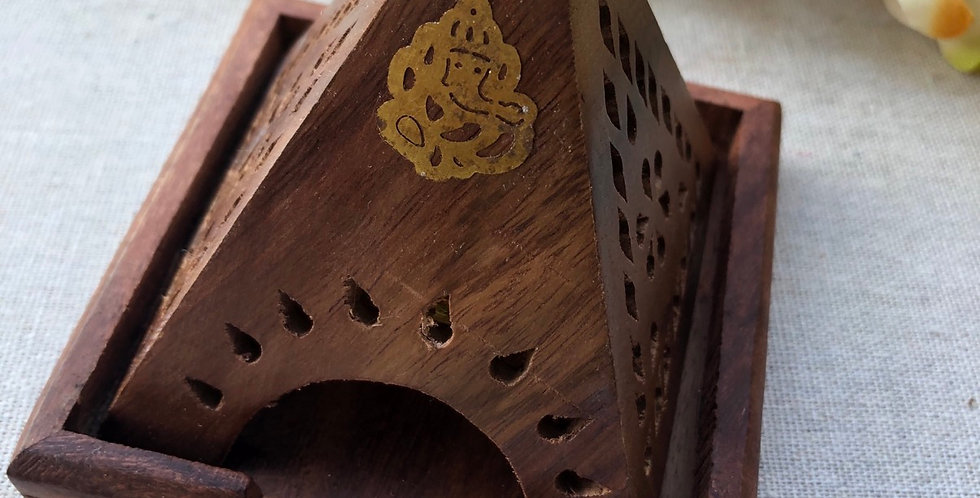 Wood Temple Incense Burners
