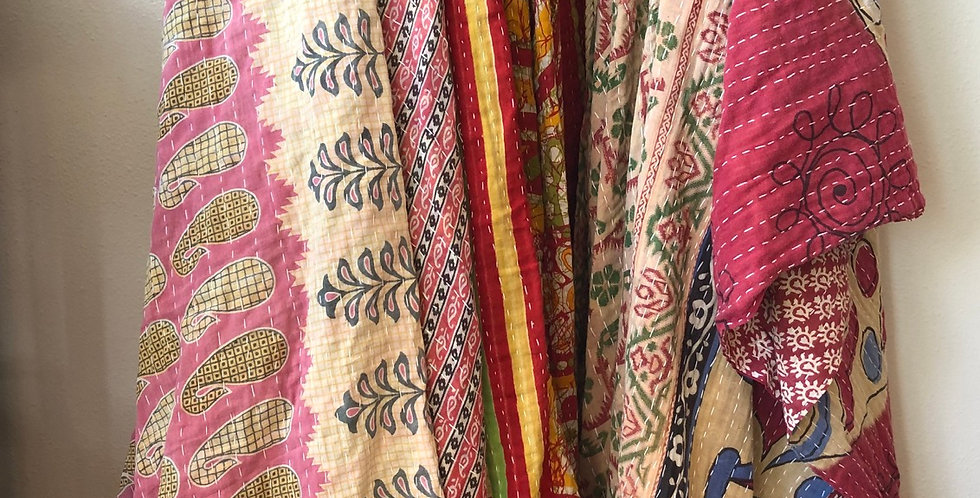 Patchwork Indian Vintage Textiles Stitched Throws
