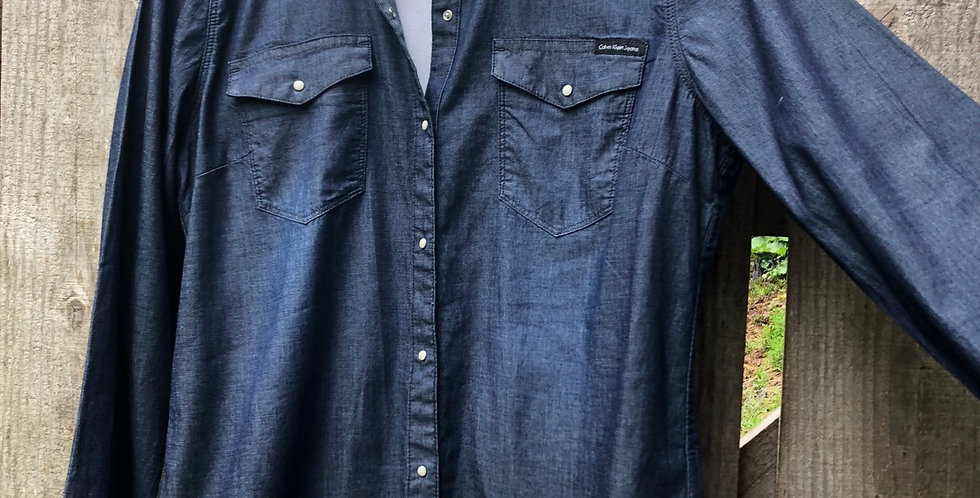 Button Down Dark blue Denim Oxford