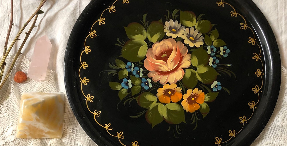 Antique Tin hand painted Tray